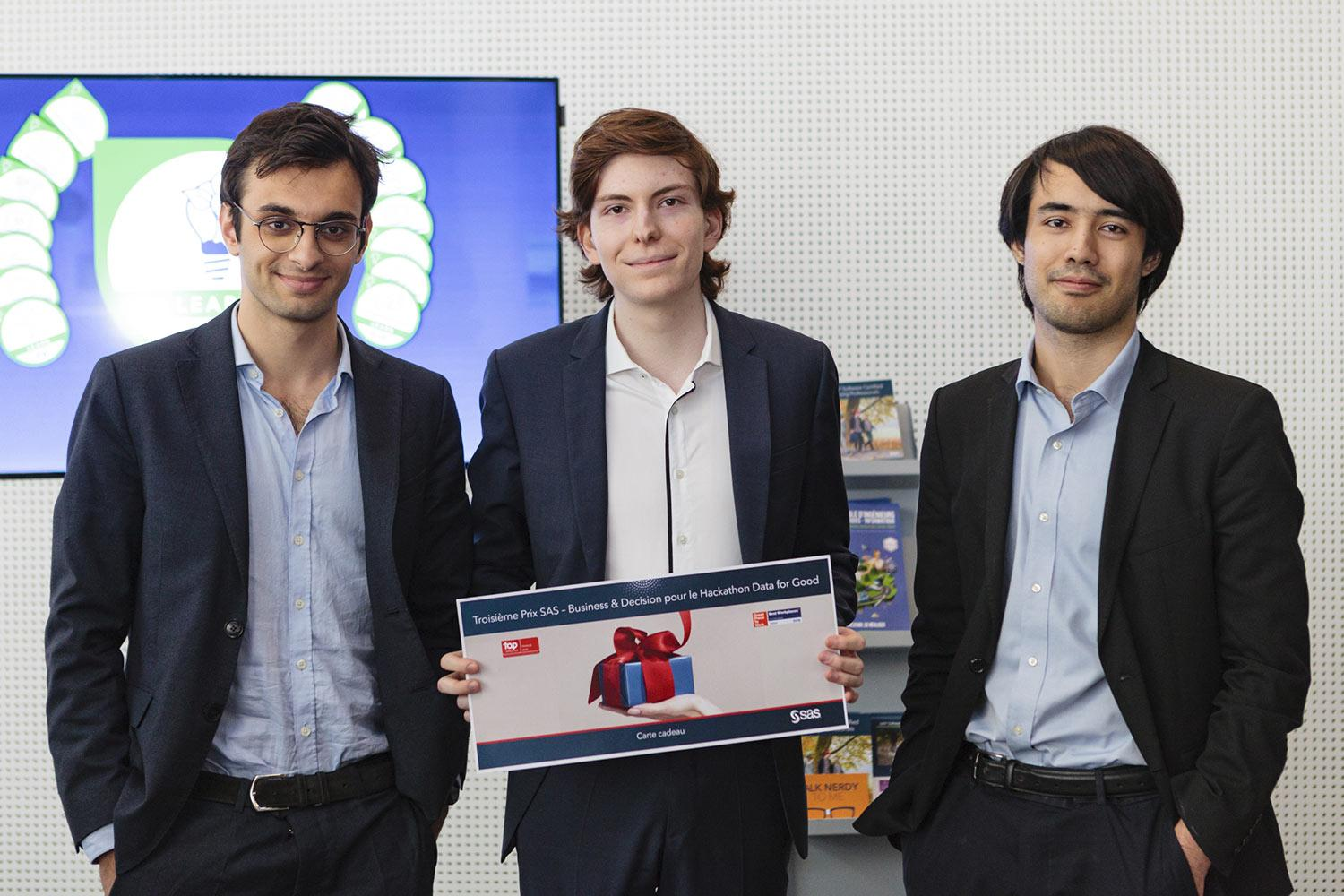 Group photo of three male winners from SAS Hackathon event - 3rd Place