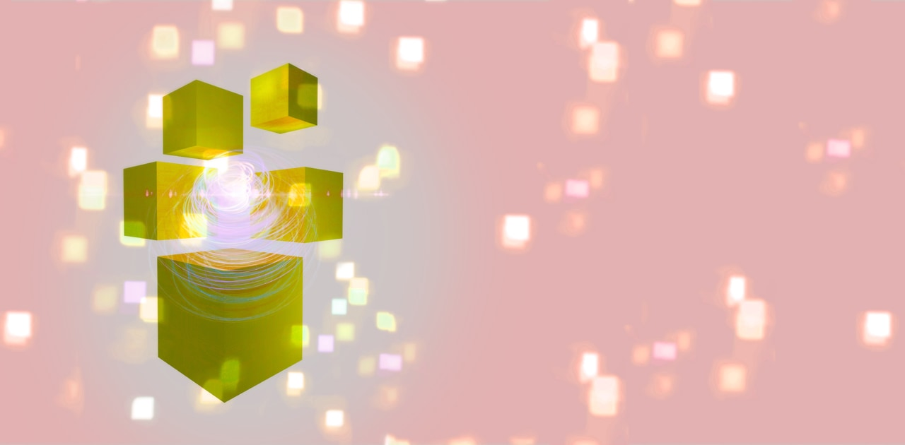 Gold Glowing Cubes - Quantum mechanics, artwork