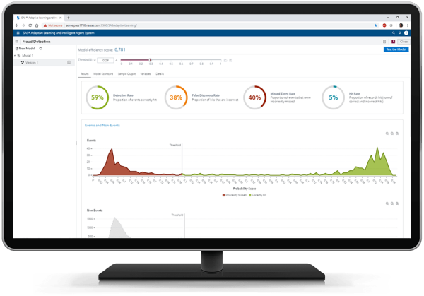 SAS Adaptive Learning and Intelligent Agent System showing results on desktop monitor