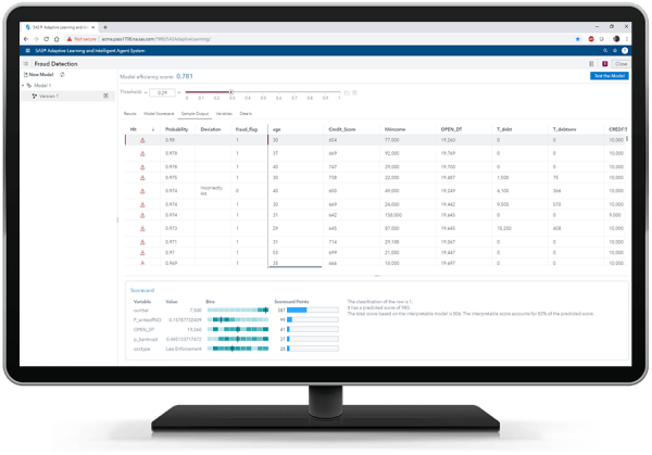 SAS Adaptive Learning and Intelligent Agent System showing sample output on desktop monitor