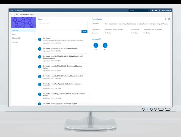 SAS Data Preparation showing data projects on desktop monitor
