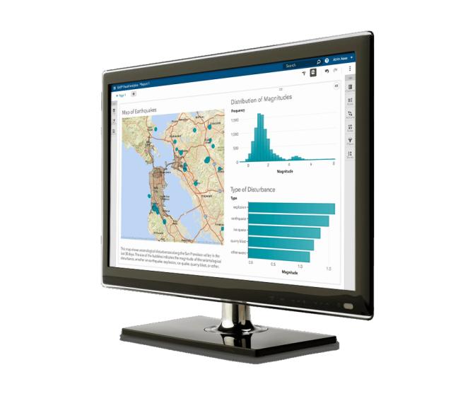 SAS Visual Analytics affiché sur l'écran d'un poste de travail