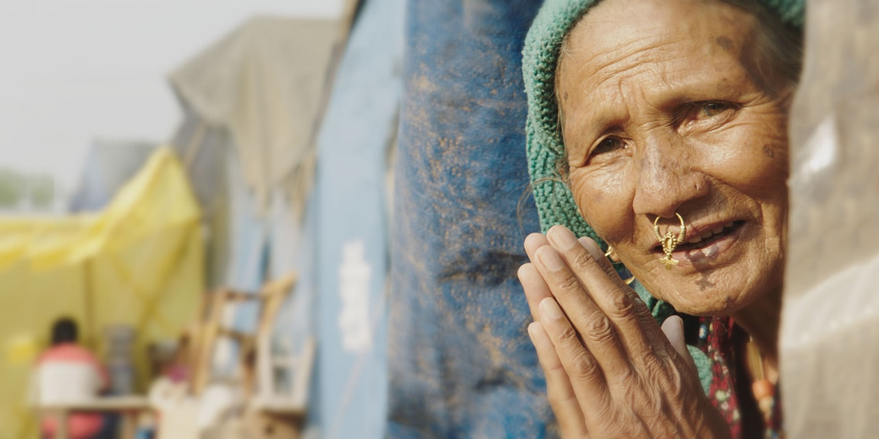 Woman displaced by earthquake in Nepal