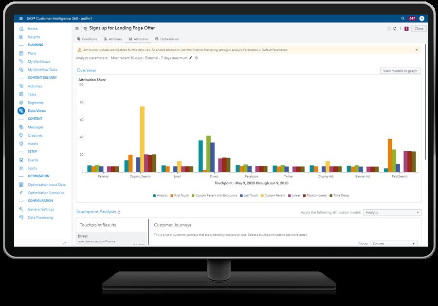SAS 360 Engage showing loan application attributions on desktop monitor