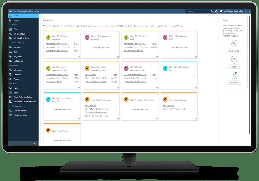 SAS 360 Engage homepage shown on desktop monitor