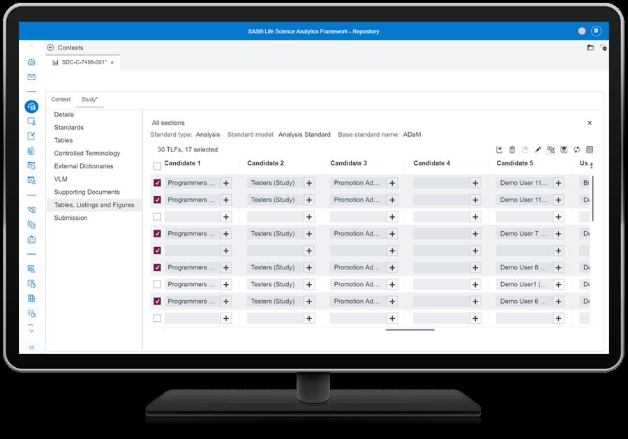 SAS Life Science Analytics Framework  screenshot showing streamline and automation