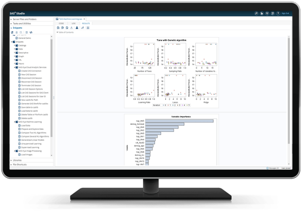 SAS Machine Learning on Analytics Cloud showing gradient boosting autotuning on desktop monitor