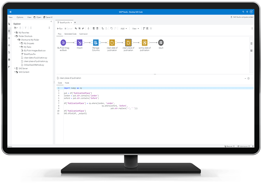 SAS Studio showing autocomplete capability on desktop monitor