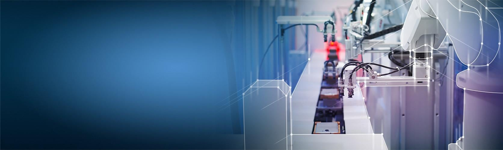 Robot arm at conveyor belt connected dots