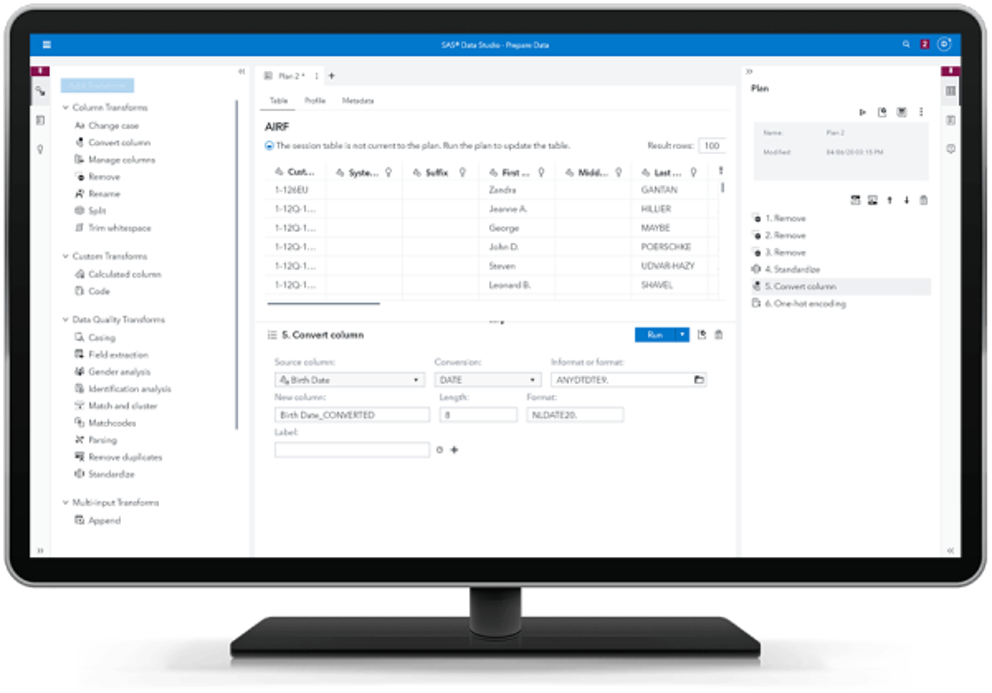 SAS Data Management showing session table on desktop monitor