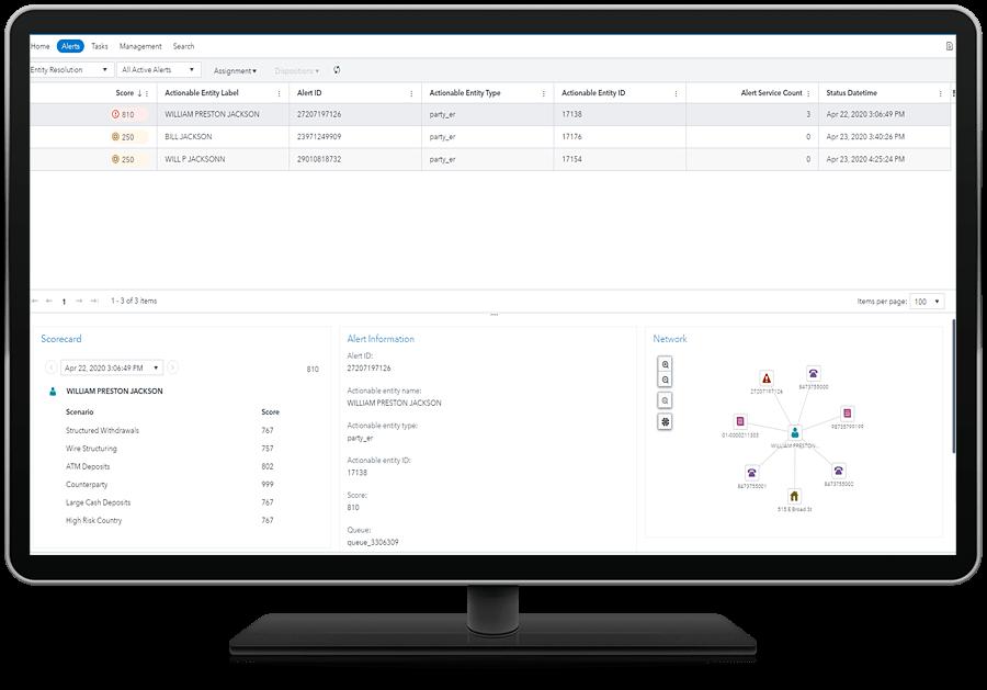 SAS Financial Crimes Analytics shown on desktop monitor