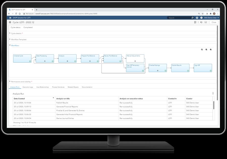 SAS solution for LDTI Improve workflow management screenshot