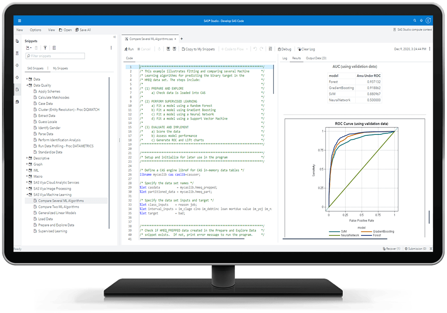 SAS Studio showing libraries detail on desktop monitor