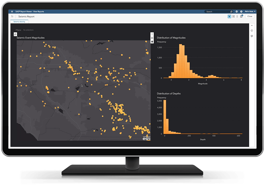 SAS Visual Analytics pada SAS Viya menampilkan analitis lokasi