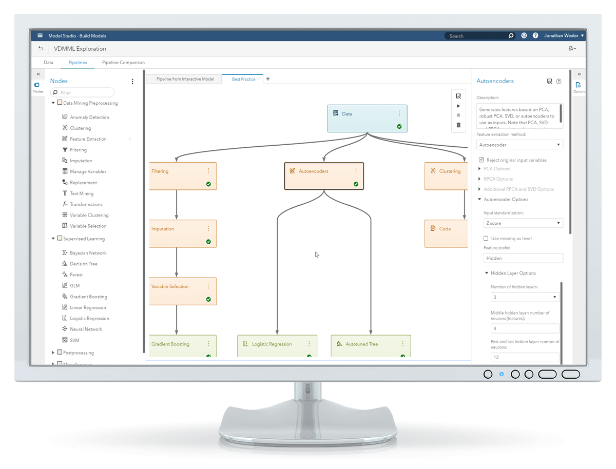 Cuplikan layar Viya Data Mining and Machine Learning dari opsi penyetelan otomatis dan panel utilitas ditampilkan di monitor desktop