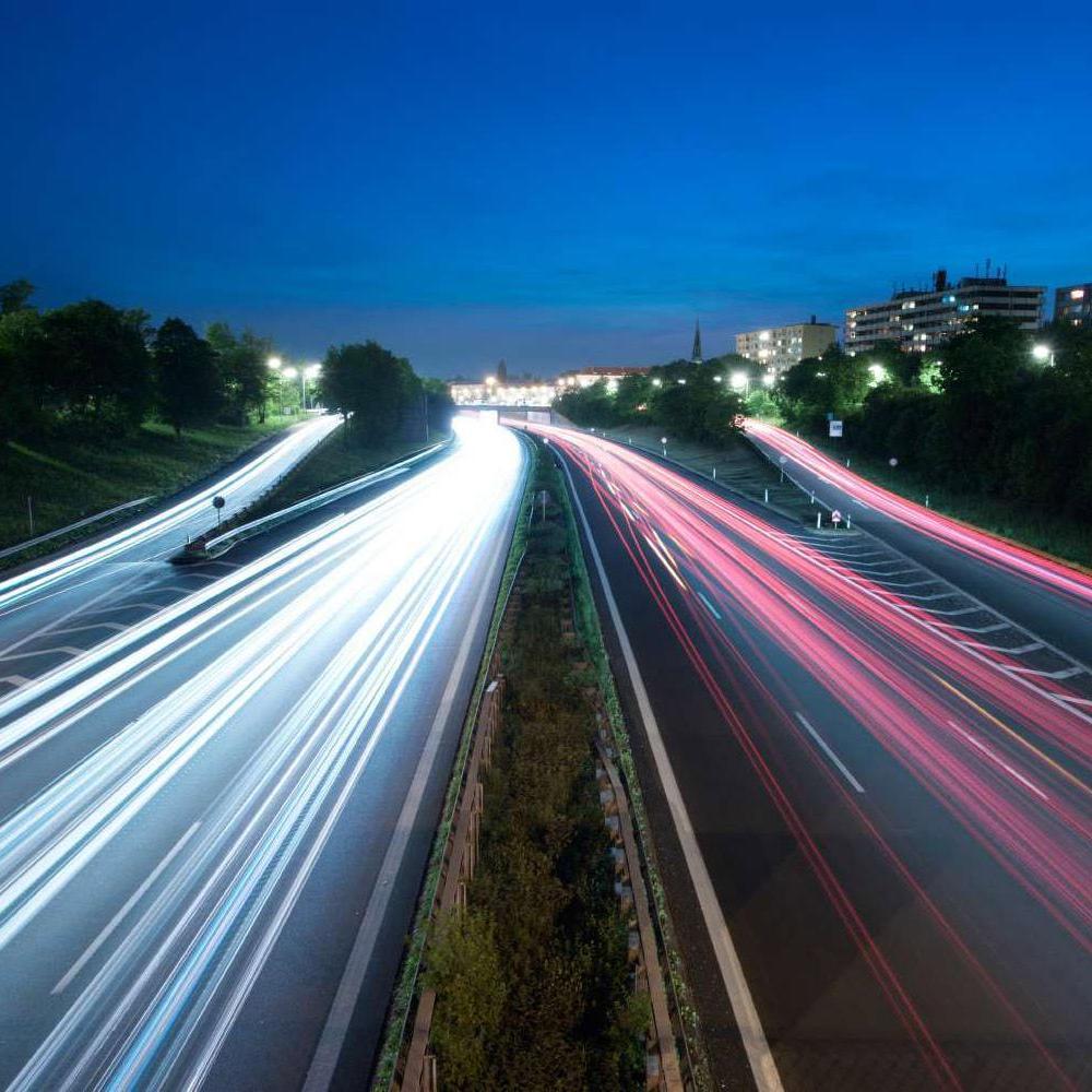 Highway light trails