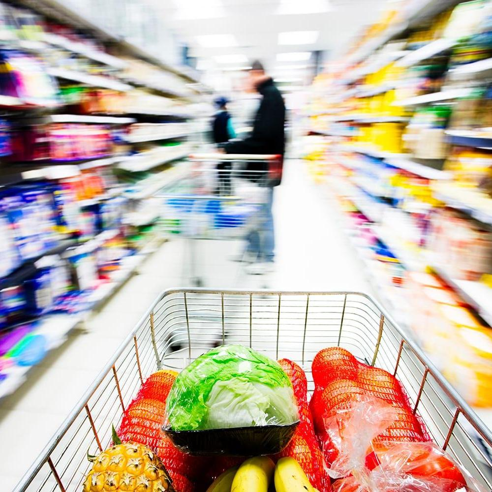 Shopping cart in grocery store