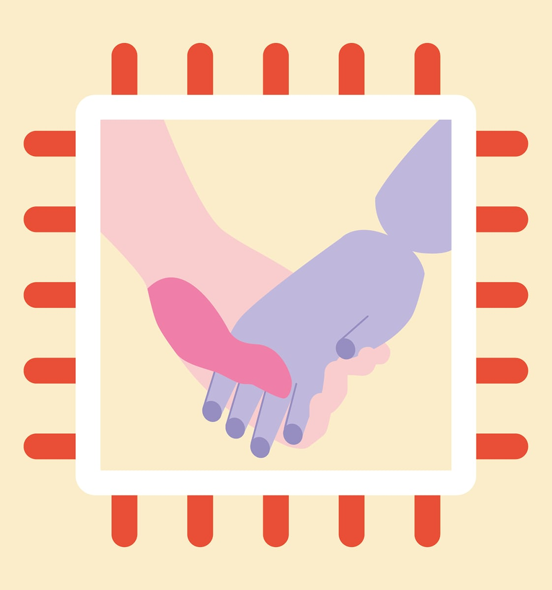 Pink and Violet hand holding