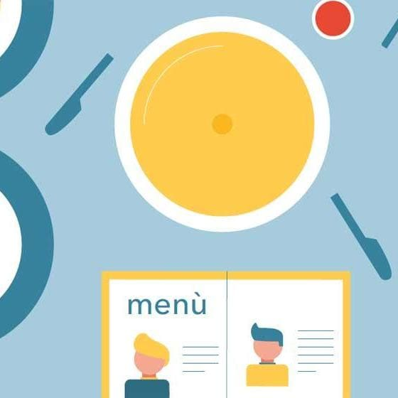 Graphics with menu, dishes, tray and charts to simulate digital transformation