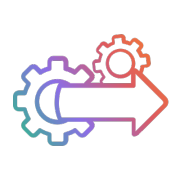 In stream analytics arrow gears Gradient Icon