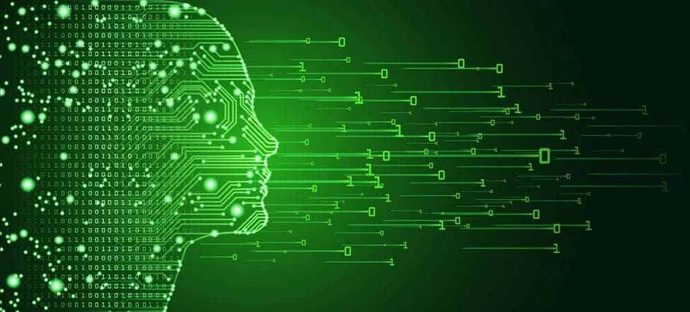 Women Face Outline With Circuit Board and Binary Data Flow on Green Background.