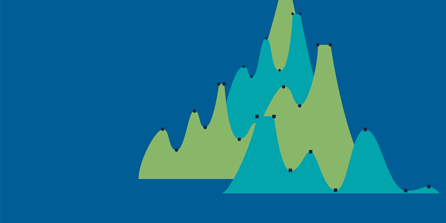 Conceptual of man climbing graph mountains