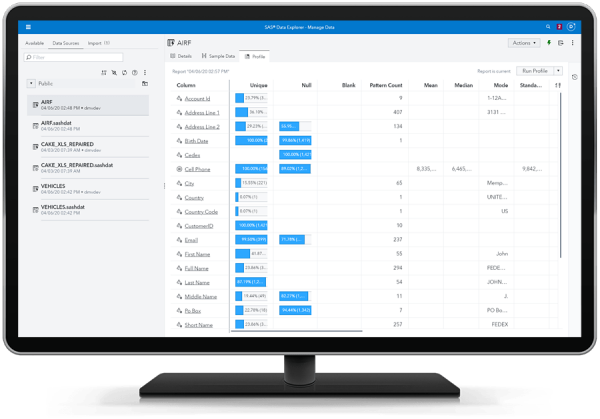 SAS Data Management showing monitoring center on desktop monitor
