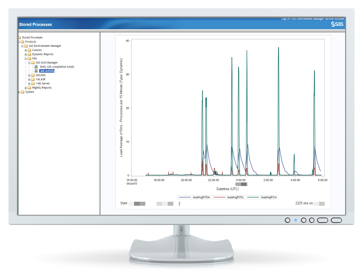SAS Grid Manager on desktop monitor showing detailed graphs depicting job status under resources tab.