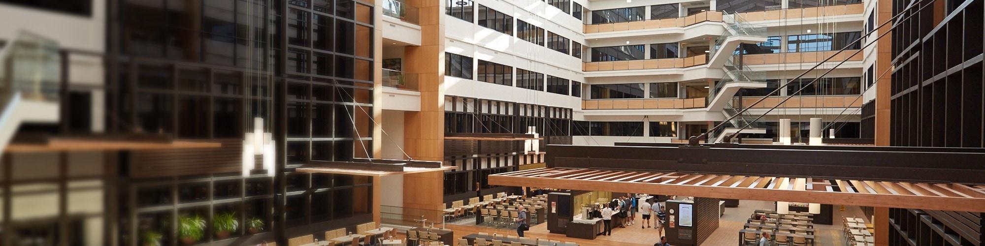 SAS Building R with interior atrium design at Cary, NC headquarters