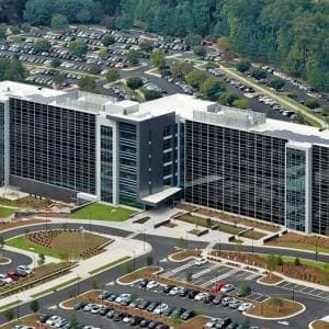 Aerial view of building Q on SAS campus