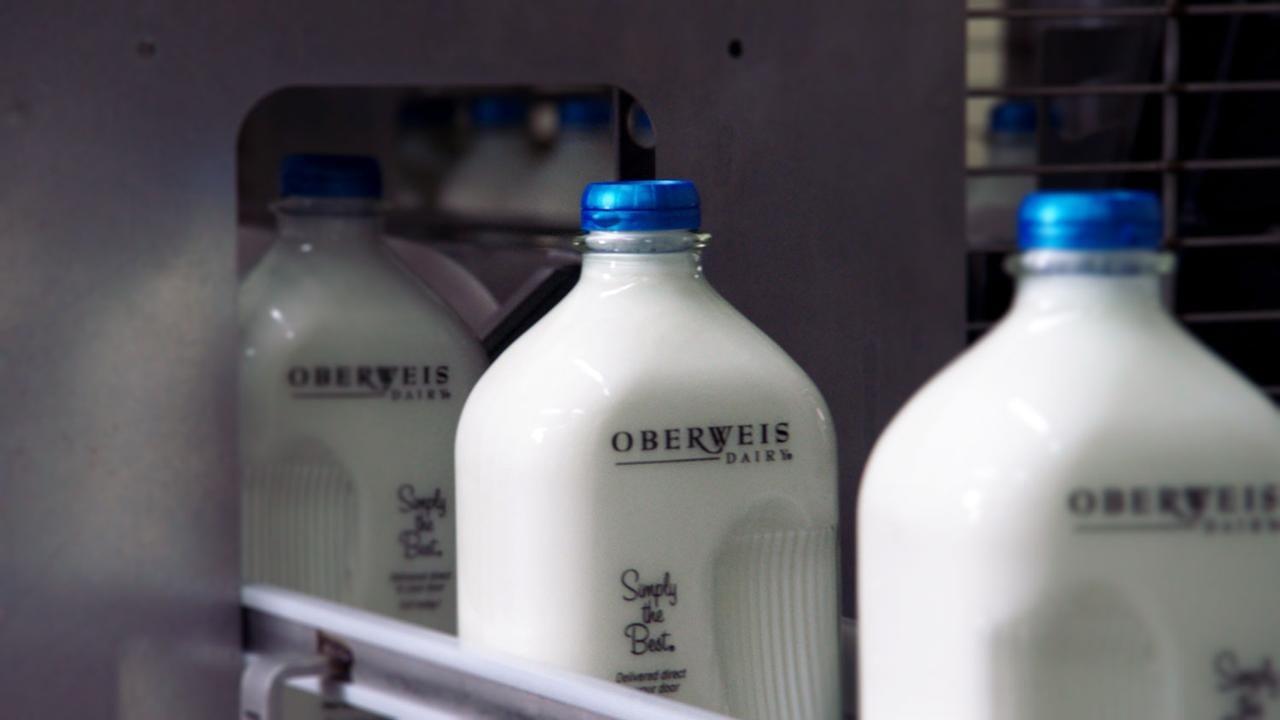 Oberweis milk bottles