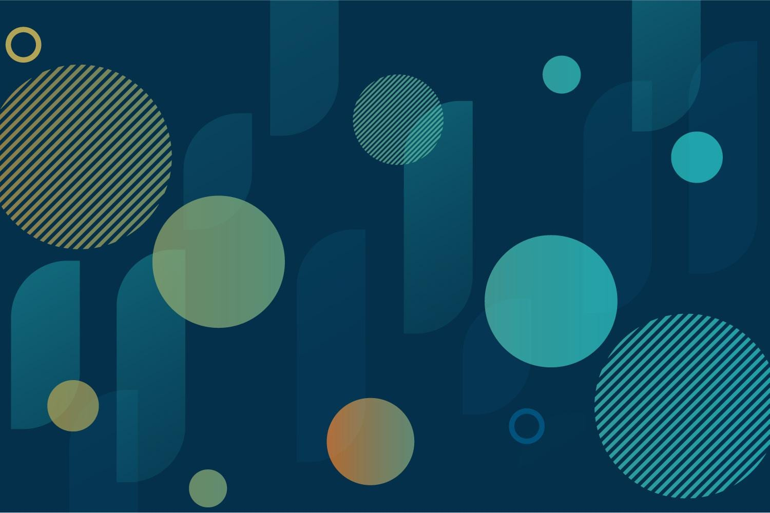 Blue, green, and orange circular pattern on blue background