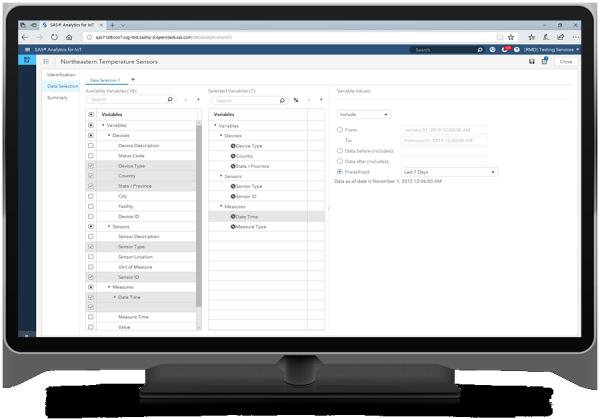 SAS Analytics for IoTのデータ選択機能の画面が表示されているデスクトップ・モニター