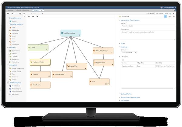 SAS Analytics for IoTの中でSAS Event Stream Processing関連の機能が表示されているデスクトップ・モニター
