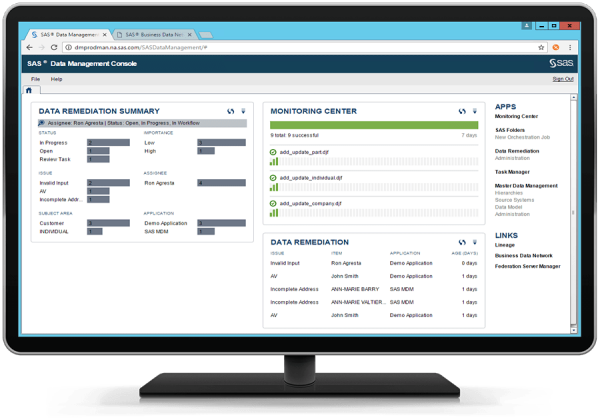 SAS Data Governance showing Data Management Console on desktop monitor