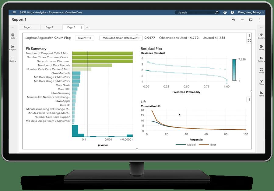 SAS Visual Statistics on SAS Viya showing logistic regression on desktop monitor