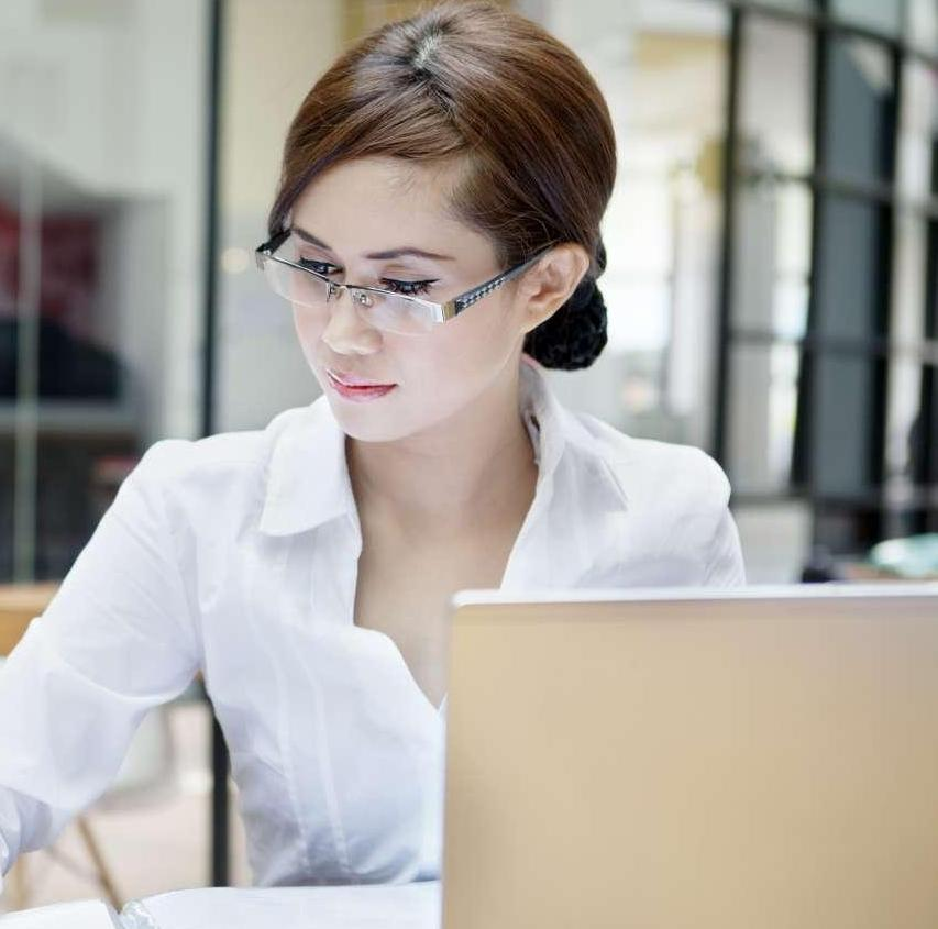 Woman working in office setting