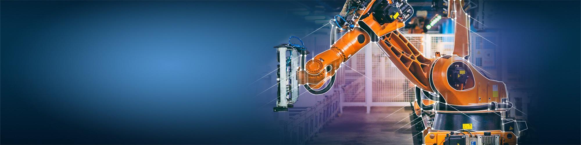 Orange robot arm connected dots