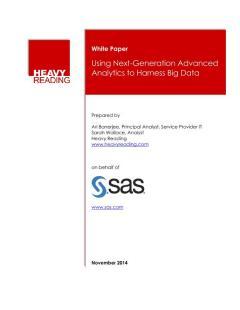 Using Next-Generation Advanced Analytics to Harness Big Data