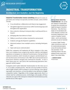 Industrial Transformation. Architecture and Analytics Just the Beginning