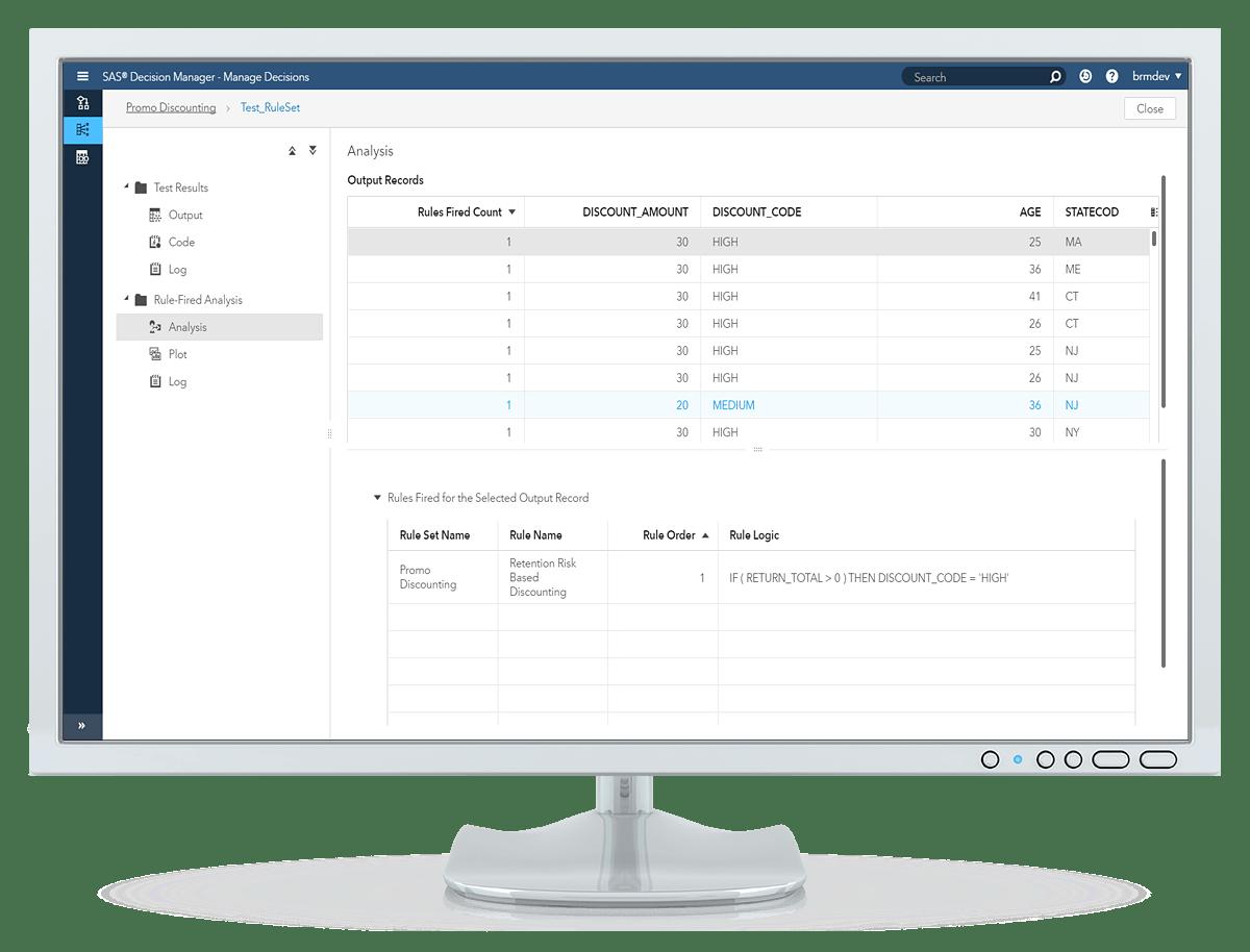 데스크톱 모니터에 표시된 SAS Decision Manager의 규칙 테스트 출력 화면
