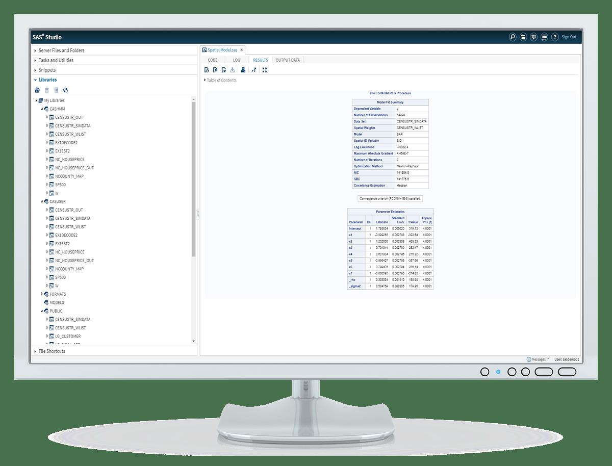 SAS Econometrics HHM code output shown on desktop monitor