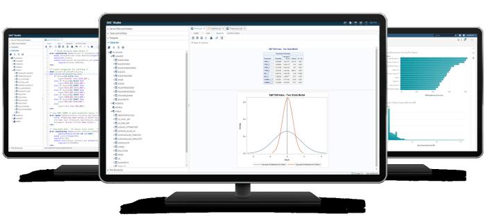 SAS Econometrics shown on three desktop monitors