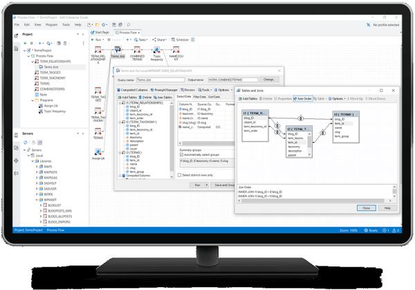 SAS Enterprise Guide showing query tool on desktop monitor