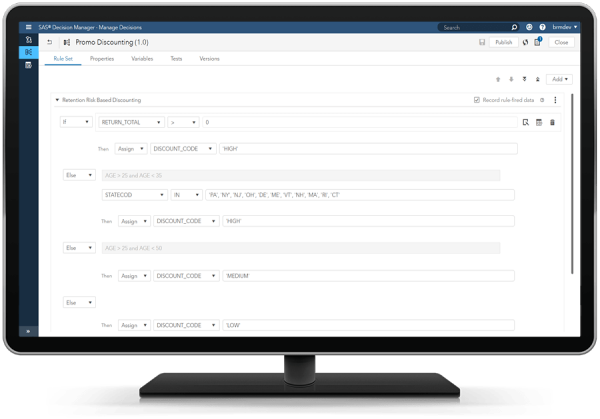 SAS Intelligent Decisioning showing rule test editor on desktop monitor