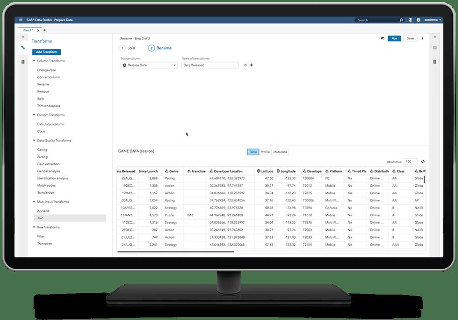 셀프 서비스 데이터 준비 기능을 표시하고 있는 SAS Visual Analytics on SAS Viya