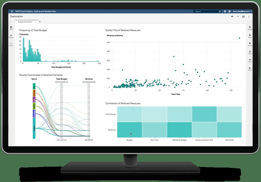 시각적 데이터 탐색 기능을 표시하고 있는 SAS Visual Analytics on SAS Viya