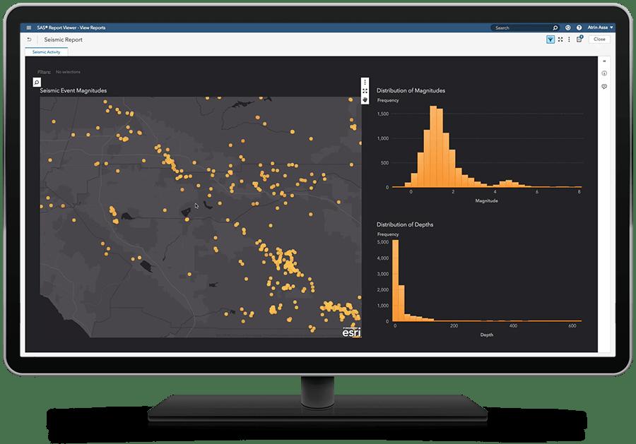위치 분석 기능을 표시하고 있는 SAS Visual Analytics on SAS Viya
