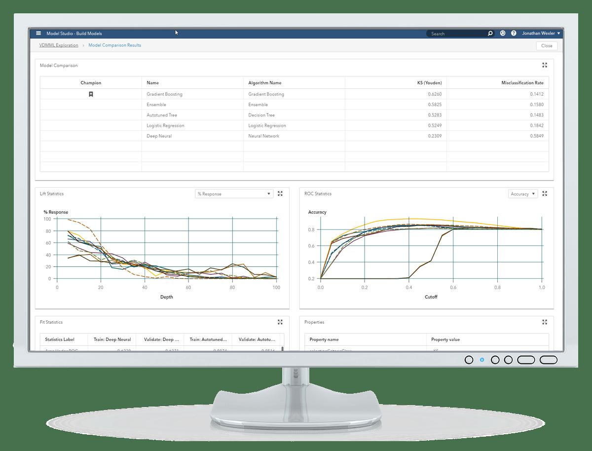 데스크톱 모니터에 표시된 SAS Visual Data Mining and Machine Learning의 시각적 인터페이스