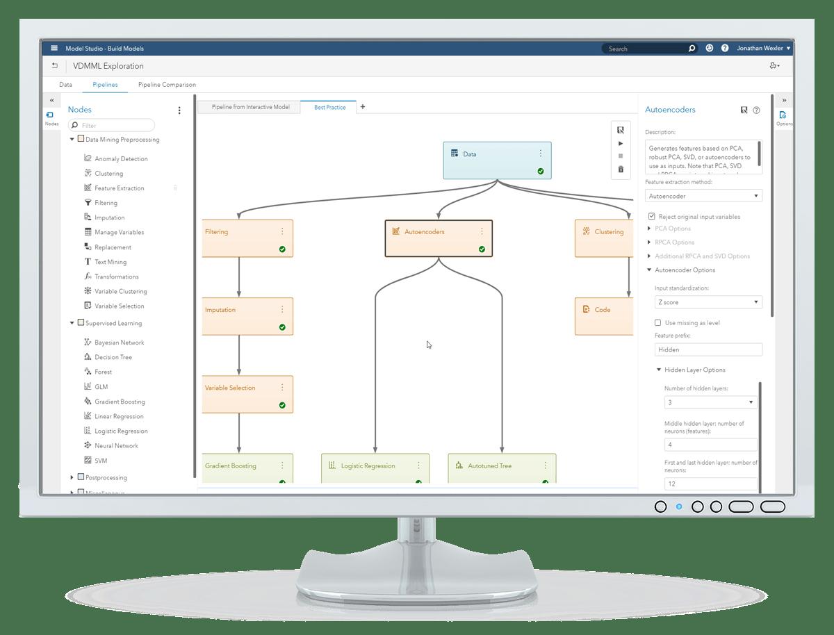 Viya Data Mining and Machine Learning에서 오토 튜닝 옵션과 유틸리티 창을 표시하고 있는 데스크톱 모니터의 스크린샷